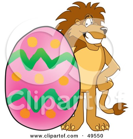 Royalty-Free (RF) Clipart Illustration of a Lion Character Mascot With an Easter Egg by Toons4Biz