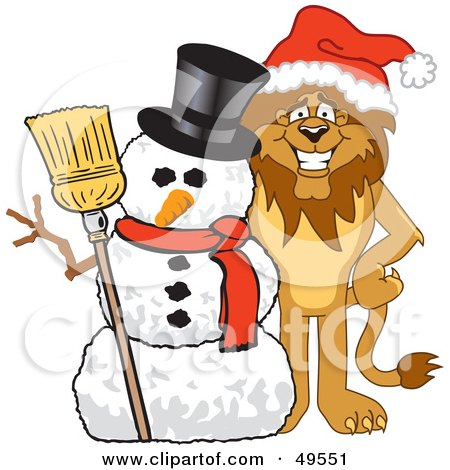 Lion Character Mascot With a Snowman Posters, Art Prints