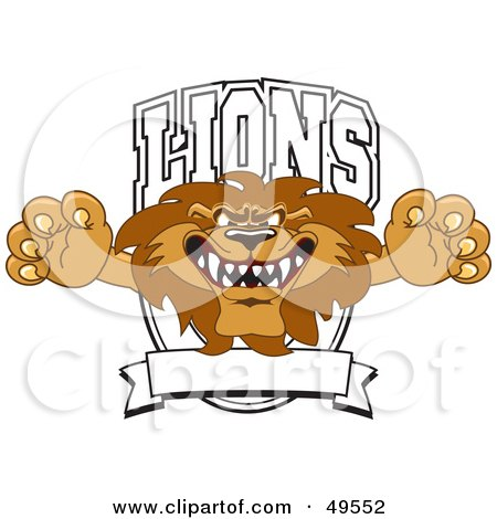 Royalty-Free (RF) Clipart Illustration of a Lion Character Mascot Logo by Toons4Biz