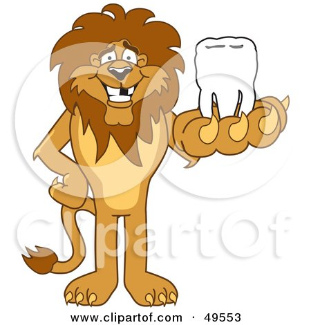 Royalty-Free (RF) Clipart Illustration of a Lion Character Mascot Holding a Tooth by Toons4Biz