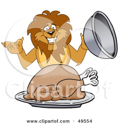 Royalty-Free (RF) Clipart Illustration of a Lion Character Mascot Serving a Turkey by Toons4Biz