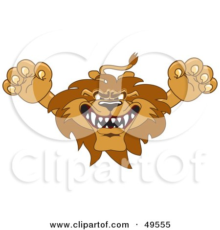 Royalty-Free (RF) Clipart Illustration of a Lion Character Mascot Lunging Forward by Toons4Biz