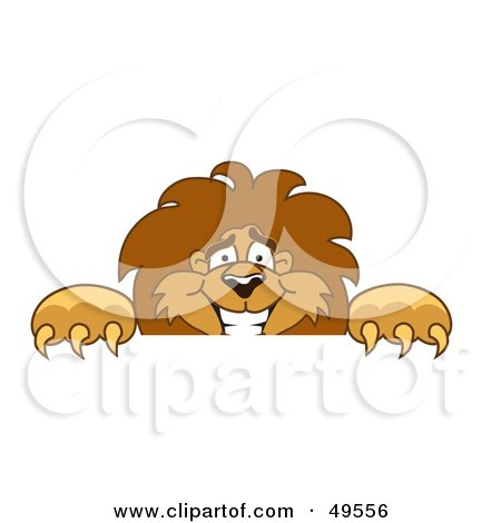 Royalty-Free (RF) Clipart Illustration of a Lion Character Mascot Looking Over a Surface by Toons4Biz