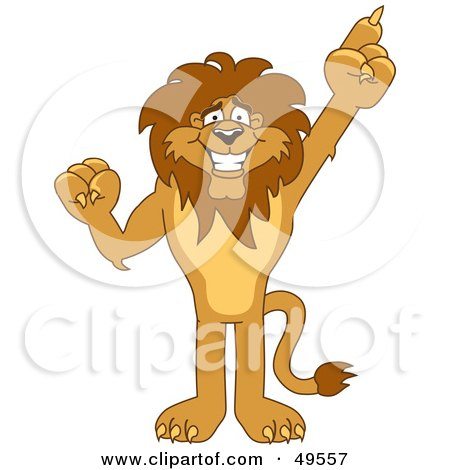 Royalty-Free (RF) Clipart Illustration of a Lion Character Mascot Pointing Up by Toons4Biz