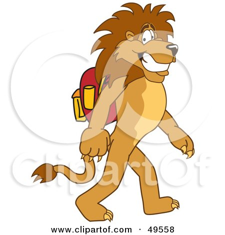 Lion Character Mascot Walking to School Posters, Art Prints