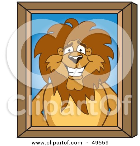 Royalty-Free (RF) Clipart Illustration of a Lion Character Mascot Portrait by Toons4Biz