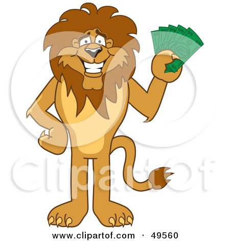 Royalty-Free (RF) Clipart Illustration of a Lion Character Mascot Holding Cash by Toons4Biz