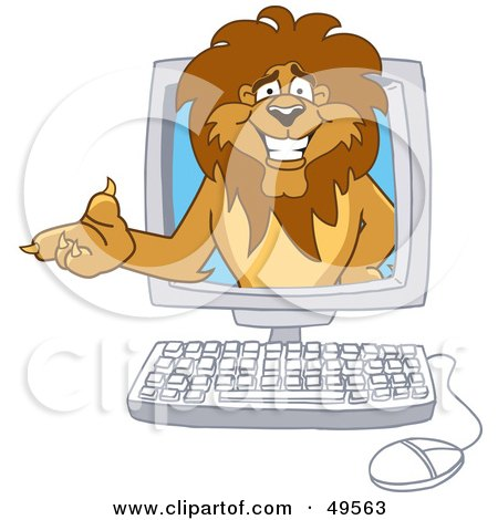 Lion Character Mascot in a Computer Posters, Art Prints