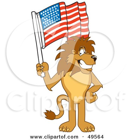 Royalty-Free (RF) Clipart Illustration of a Lion Character Mascot Waving an American Flag by Toons4Biz