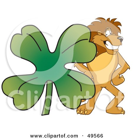Royalty-Free (RF) Clipart Illustration of a Lion Character Mascot With a Clover by Toons4Biz