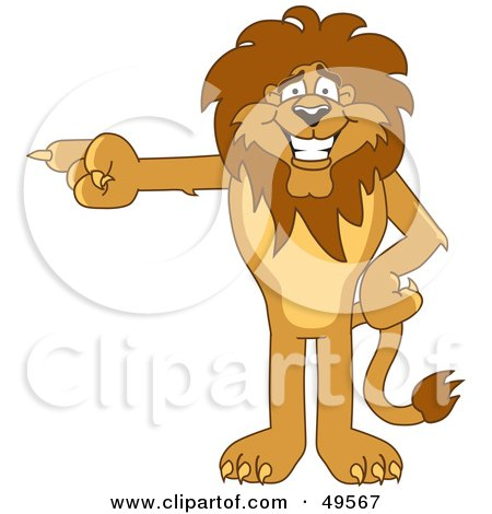 Royalty-Free (RF) Clipart Illustration of a Lion Character Mascot Pointing Left by Toons4Biz