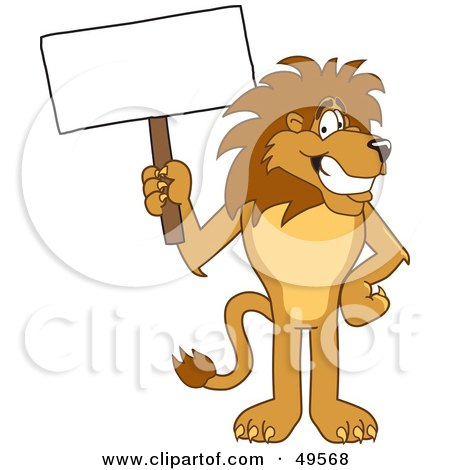 Royalty-Free (RF) Clipart Illustration of a Lion Character Mascot With a Blank Sign by Toons4Biz