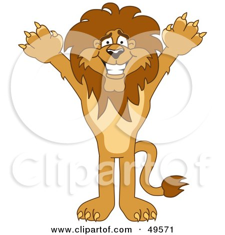 Royalty-Free (RF) Clipart Illustration of a Lion Character Mascot Holding His Arms Up by Toons4Biz
