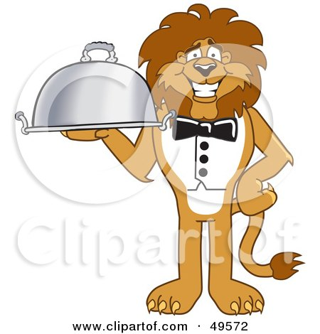Royalty-Free (RF) Clipart Illustration of a Lion Character Mascot Serving a Platter by Toons4Biz