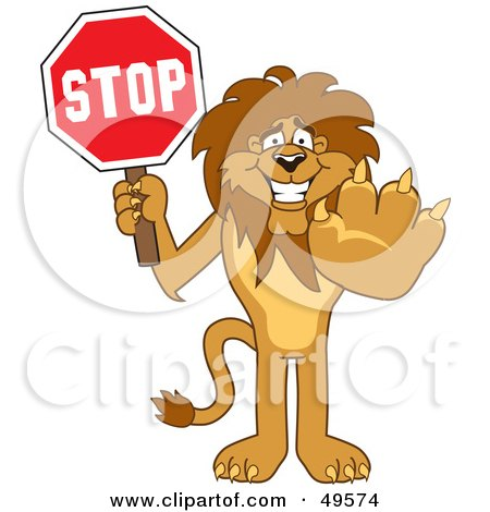 Royalty-Free (RF) Clipart Illustration of a Lion Character Mascot Holding a Stop Sign by Toons4Biz