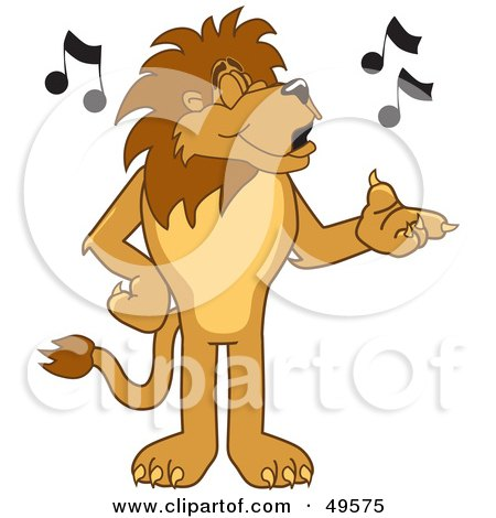 Royalty-Free (RF) Clipart Illustration of a Lion Character Mascot Singing by Toons4Biz