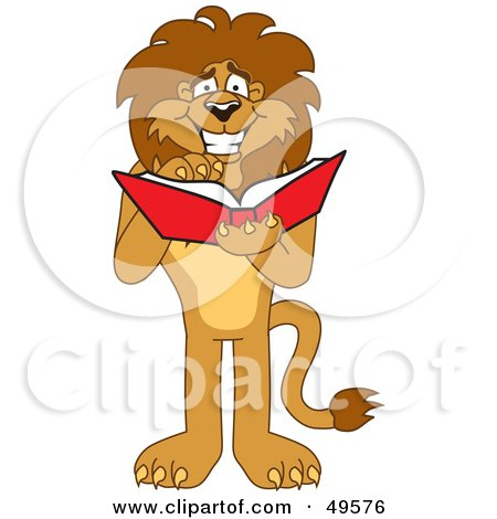 Royalty-Free (RF) Clipart Illustration of a Lion Character Mascot Reading by Toons4Biz