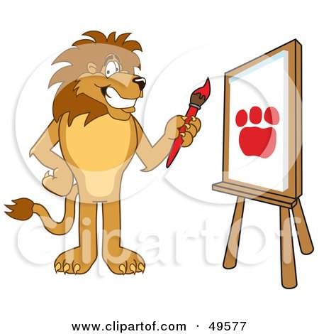 Royalty-Free (RF) Clipart Illustration of a Lion Character Mascot Painting by Toons4Biz