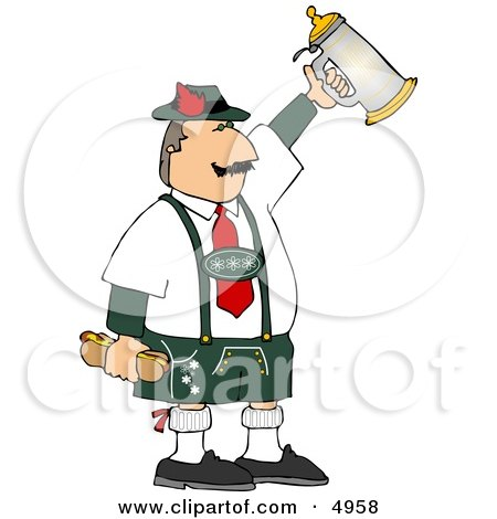 Man Celebrating Oktoberfest with a Beer Stein and Hot Dogs Clipart by djart