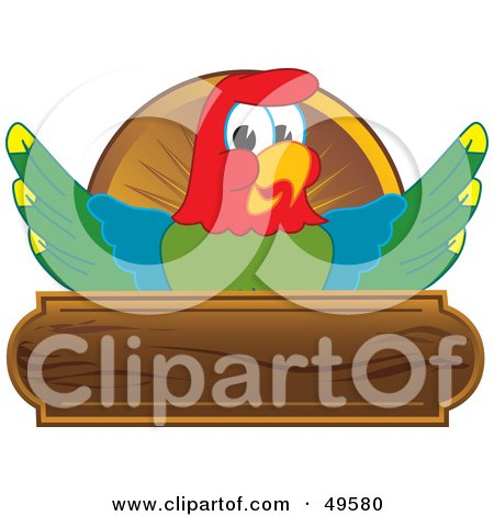 Royalty-Free (RF) Clipart Illustration of a Macaw Parrot Character Mascot Wooden Plaque Logo by Toons4Biz