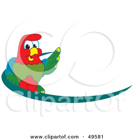 Royalty-Free (RF) Clipart Illustration of a Macaw Parrot Character Mascot Dash Logo by Toons4Biz