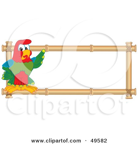 Royalty-Free (RF) Clipart Illustration of a Macaw Parrot Character Mascot Bamboo Logo by Toons4Biz