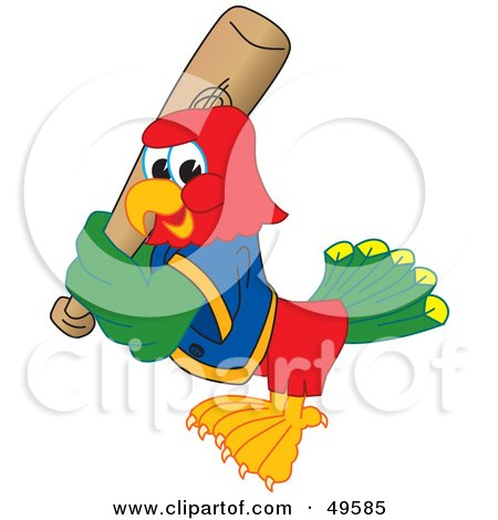 Royalty-Free (RF) Clipart Illustration of a Macaw Parrot Character Mascot Playing Baseball by Toons4Biz