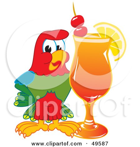 Royalty-Free (RF) Clipart Illustration of a Macaw Parrot Character Mascot With a Fruity Cocktail by Toons4Biz