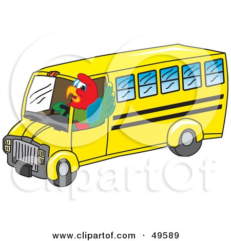 Royalty-Free (RF) Clipart Illustration of a Macaw Parrot Character Mascot School Bus Driver by Toons4Biz