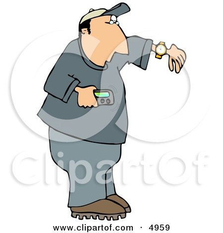 Man Holding a Vibrating Pager and Checking the Time On His Wrist Watch Clipart by djart