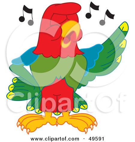Royalty-Free (RF) Clipart Illustration of a Macaw Parrot Character Mascot Singing by Toons4Biz