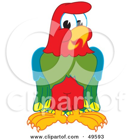 Royalty-Free (RF) Clipart Illustration of a Macaw Parrot Character Mascot by Toons4Biz