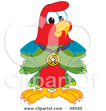 Royalty-Free (RF) Clipart Illustration of a Macaw Parrot Character Mascot Wearing a Medal by Toons4Biz