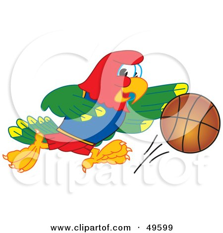 Royalty-Free (RF) Clipart Illustration of a Macaw Parrot Character Mascot Playing Basketball by Toons4Biz