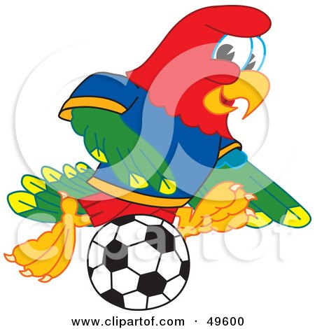 Royalty-Free (RF) Clipart Illustration of a Macaw Parrot Character Mascot Playing Soccer by Toons4Biz