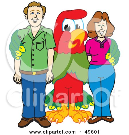 Royalty-Free (RF) Clipart Illustration of a Macaw Parrot Character Mascot With Parents by Toons4Biz