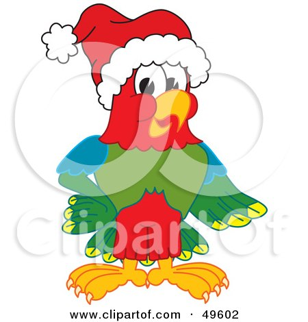 Royalty-Free (RF) Clipart Illustration of a Macaw Parrot Character Mascot Wearing a Santa Hat by Toons4Biz