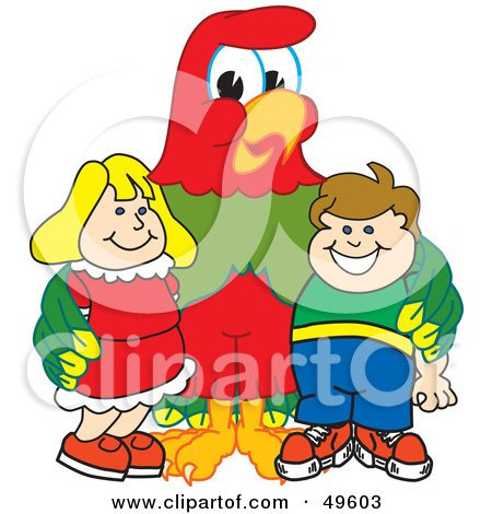 Royalty-Free (RF) Clipart Illustration of a Macaw Parrot Character Mascot With Students by Toons4Biz