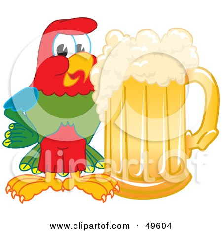 Royalty-Free (RF) Clipart Illustration of a Macaw Parrot Character Mascot With a Mug of Beer by Toons4Biz