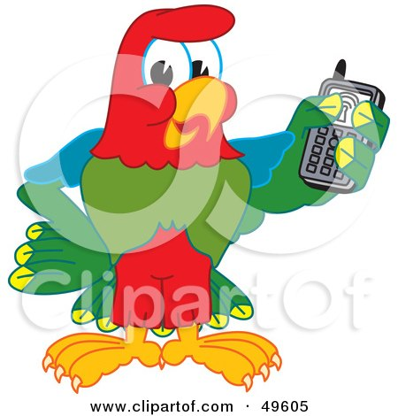 Royalty-Free (RF) Clipart Illustration of a Macaw Parrot Character Mascot Holding a Cell Phone by Toons4Biz