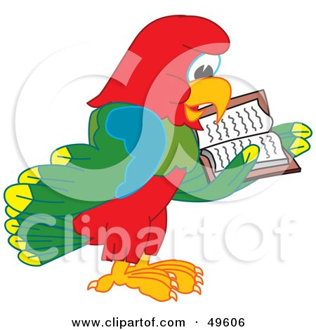 Royalty-Free (RF) Clipart Illustration of a Macaw Parrot Character Mascot Reading by Toons4Biz