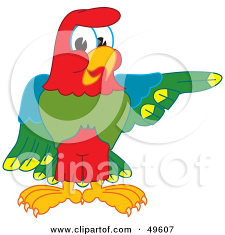 Royalty-Free (RF) Clipart Illustration of a Macaw Parrot Character Mascot Pointing Right by Toons4Biz