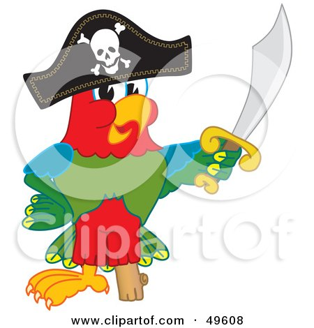 Royalty-Free (RF) Clipart Illustration of a Macaw Parrot Character Mascot Dressed as a Pirate by Toons4Biz