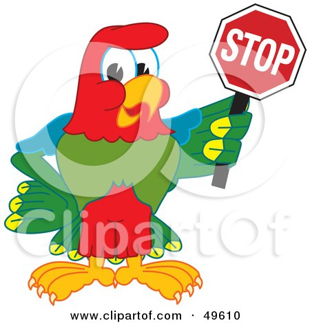 Royalty-Free (RF) Clipart Illustration of a Macaw Parrot Character Mascot Holding a Stop Sign by Toons4Biz