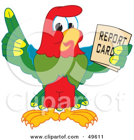 Royalty-Free (RF) Clipart Illustration of a Macaw Parrot Character Mascot Holding a Report Card by Toons4Biz