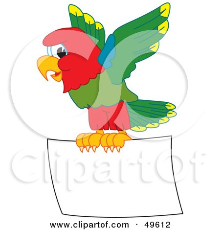 Royalty-Free (RF) Clipart Illustration of a Macaw Parrot Character Mascot Flying a Blank Sign by Toons4Biz