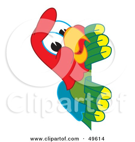 Royalty-Free (RF) Clipart Illustration of a Macaw Parrot Character Mascot Peeking by Toons4Biz