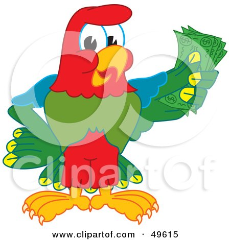 Royalty-Free (RF) Clipart Illustration of a Macaw Parrot Character Mascot Holding Cash by Toons4Biz