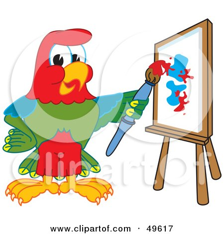 Royalty-Free (RF) Clipart Illustration of a Macaw Parrot Character Mascot Painting by Toons4Biz