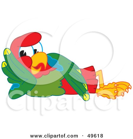 Royalty-Free (RF) Clipart Illustration of a Macaw Parrot Character Mascot Resting by Toons4Biz